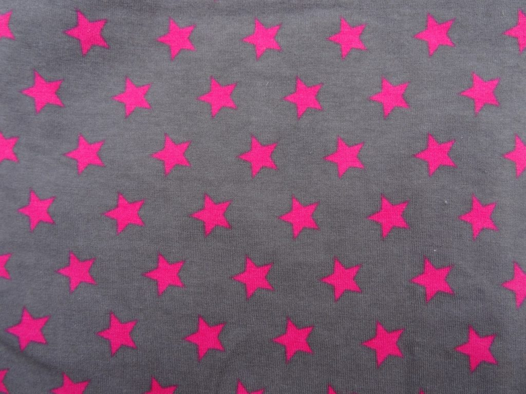 Jersey Muster Sterne grau/pink